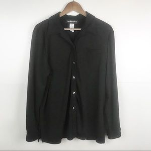 SAG HARBOR Black Blouse Long Sleeve Button Front